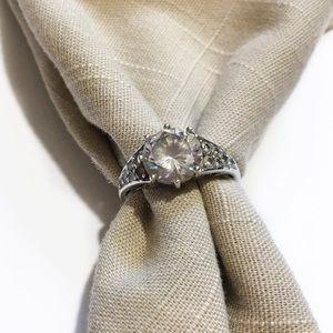 Vintage Bradford Exchange Sterling Silver CZ Ring